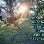 "Dog quotes roger caras ""Dogs are not our whole life, but they make our lives whole."""